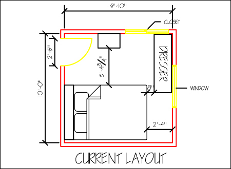 Small bedroom design part 1 space planning for Tiny bedroom layout ideas