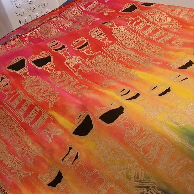 This African print of my new pillow is both colorful and fun. I love the metallic accents #lifeofadesigner #textiles