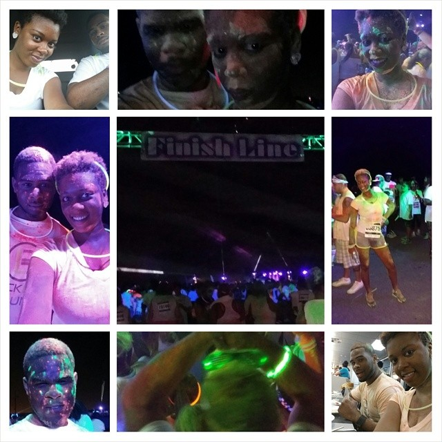 Recap from last night's #blacklightrun #nola. There were so many people out there (and I usually hate large crowds), but everyone we encountered was very nice and happy. Seems like people was just concerned with having fun... and lots of fun we had. We had so much fun that we forgot it was a race and kept stopping to talk to people, dance, and throw glow powder at each other before making it to the finish line. Anyone could have made it from start to finish. There were elderly people, young people, moms with strollers, and I even saw a lady with crutches on the track. If the Black Light Run is coming to your city, I suggest you sign up!! @blacklightrun #fitness #run #5k