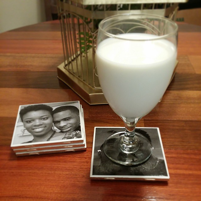 DIY photo coasters coming to the blog tomorrow!!! *yep, I do drink milk out of my cute glasses