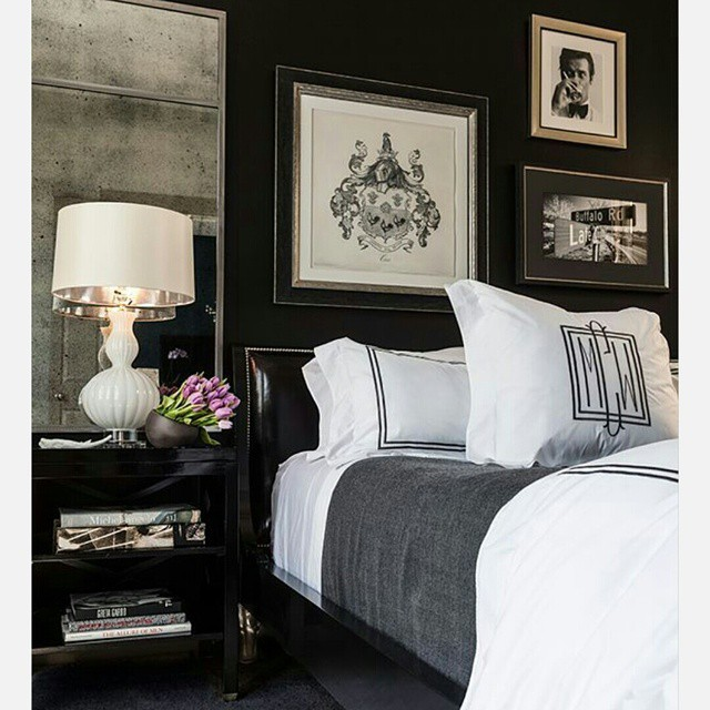 Oh how I'd love to sink into this bed right now. This bedroom is cozy, masculine, and glamorous all at the same time. #home #bedroom #decor #blackwalls #monogram #blackandwhite via #pinterest