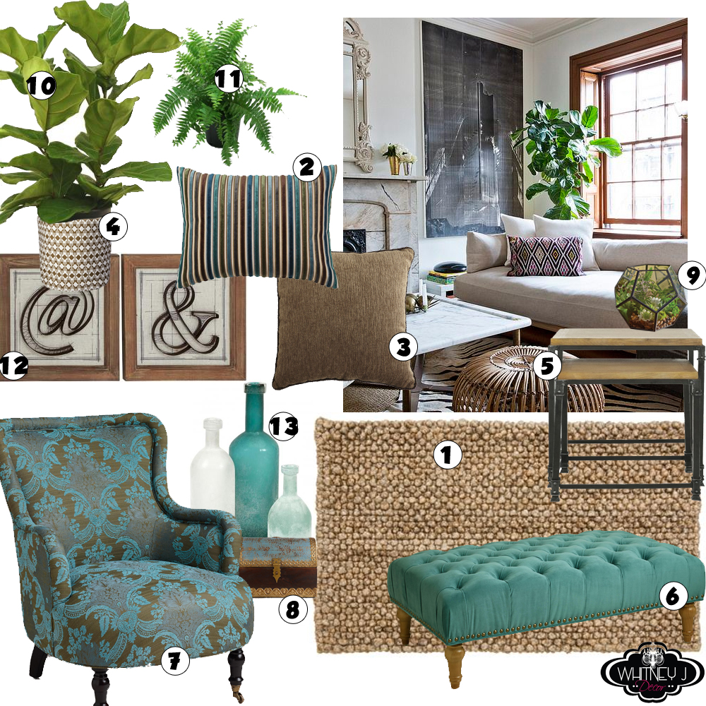 Living Room Design Board with Natural Elements, Neutral ...