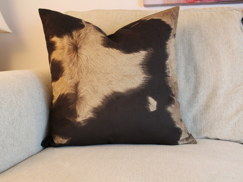 brown cow print pillow