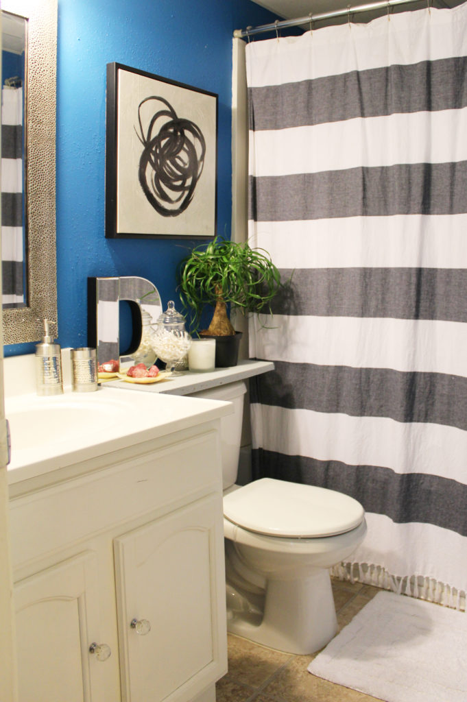 small blue apartment bathroom