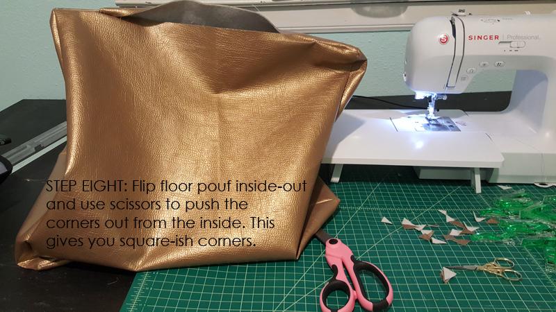 faux leather diy floor pouf