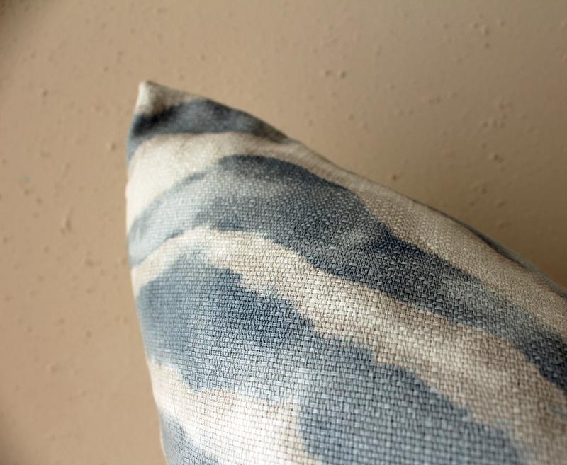 blue watercolor zebra print pillow