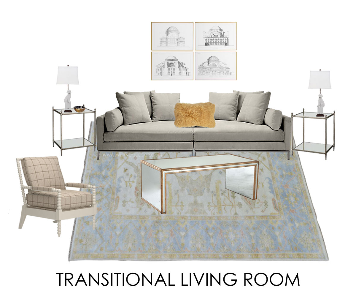 transitional living room with traditional rug | glam living room ...