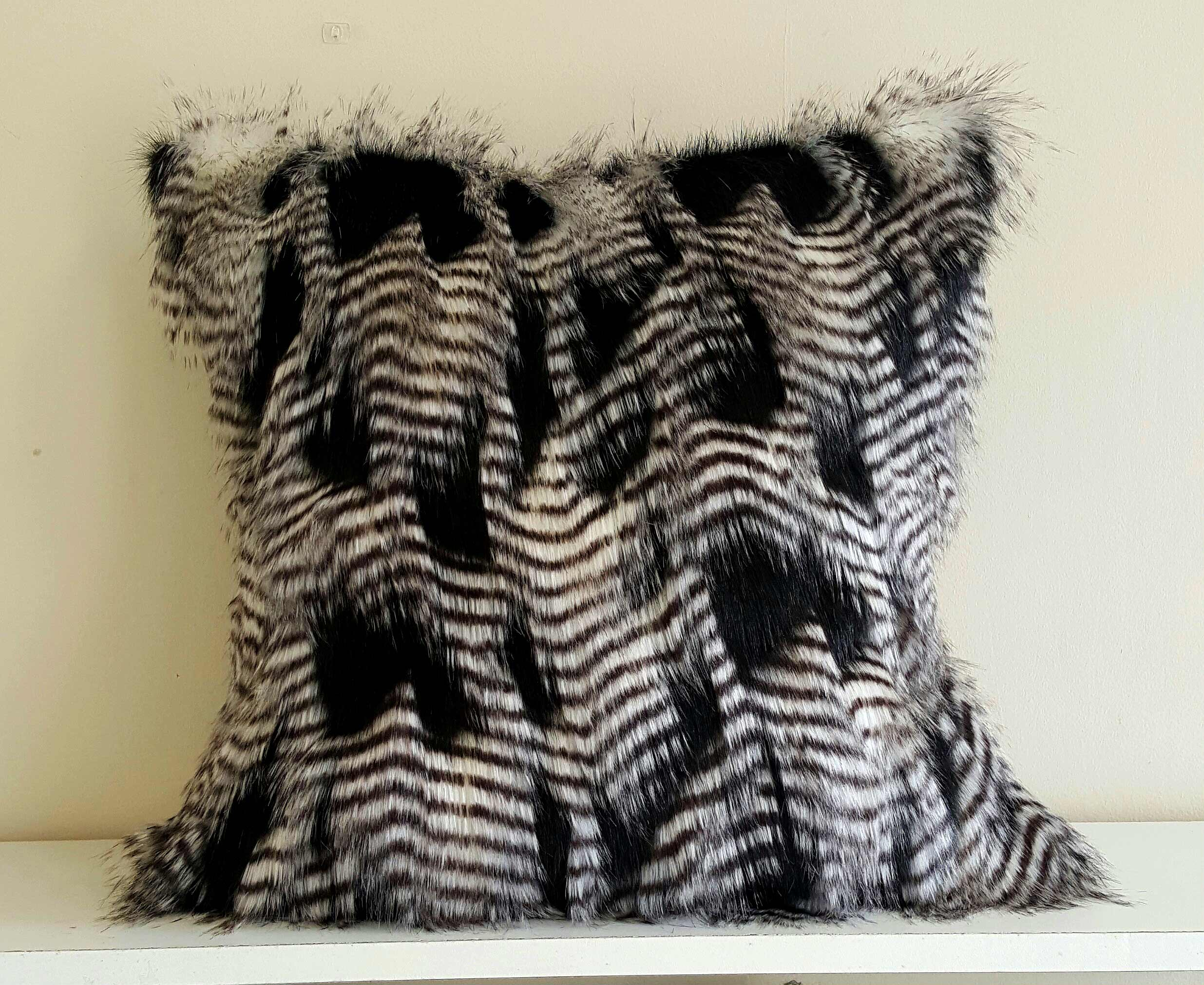 Black And White Feather Faux Fur Pillow Cover Whitney J Decor