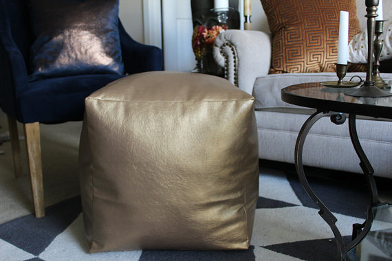 Navy Blue and Copper Velvet Metallic Pillow Cover