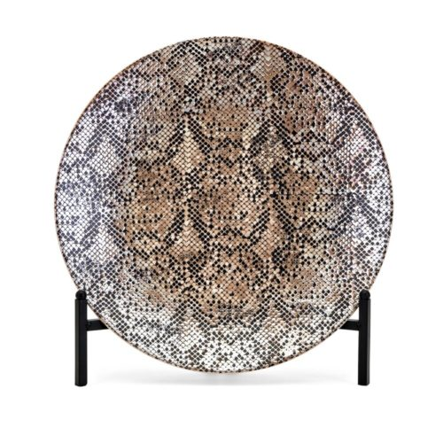 snakeskin charger with iron stand